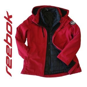 Reebok Double-Lined Women's Winter Jacket Red Coloured Coat Size Large